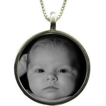 Large Circle Custom Photo Necklace - Reversible, Waterproof, Sterling Silver