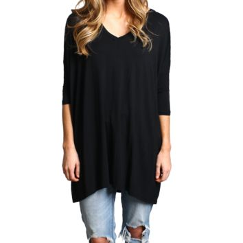 Black Piko V-Neck Half Sleeve Tunic