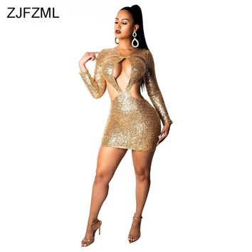 Gold Sparkly Sequin Sexy Bodycon Dress Women Waist Band Cut Out Long Sleeve Party Dress Elegant Lady Hollow Backless Mini Dress