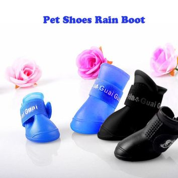 2 Pair Durable Dog and Cat Rain Shoe Snow-proof Boots