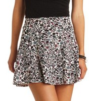 Ditsy Floral Print Skater Skirt by Charlotte Russe - Ivory Combo