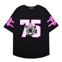 Hiphop Style Letter Print Doodle Style T-shirt