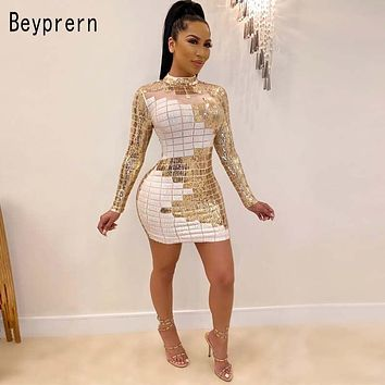 Beyprern Vintage Plaid Sequins Bodycon Celebrities Dress Womens Beautiful Sequin Glam Chirstmas Party Dress Birthdat Outfits