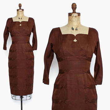 Vintage 50s Cocktail Dress / 1950s Beaded Espresso Brown Faille Wiggle Fit Sheath Dress S