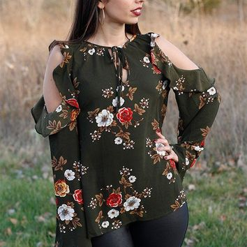 Floral cold shoulder with ruffle trim amd bell sleeve- Olive