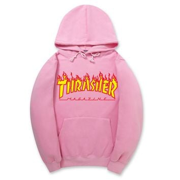 ThrasherNew flame thickening hoodies sweater letters and line Pink-1