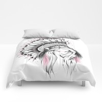 Indian Headdress Pink Version Comforters by LouJah