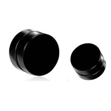 Shellhard Black Magnet Circle Round Stud Earring Stainless Steel Magnetic Earring Fake Plugs No Piercing Unisex Jewelry 6-10mm
