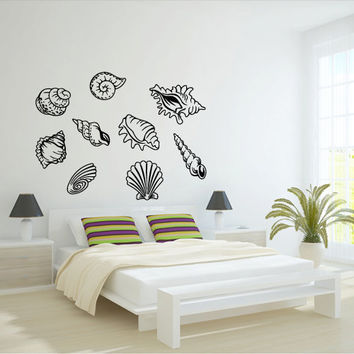 Wall decal decor decals art shell sea water ocean immersion bathroom depth design mural (m979)