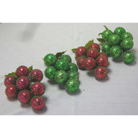 4 Vintage Glass Christmas Ornament Grape Clusters Foil Honey Comb Red Green 1950s-60s
