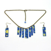 Recycled CD jewelry set : Earrings and Necklace, blue and yellow night sky - by Savousepate