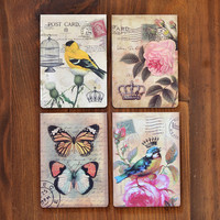 Set of 4 Vintage Style Notebooks - Bird, Butterfly & Rose Postcard Detail