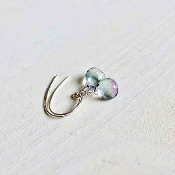Gorgeous, AAA Green and Purple Fluorite, Gemstone Earrings with .925 Sterling Silver