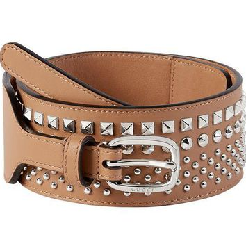 DCCKHI2 Gucci Women's Beige Studded Leather Wide Waist Belt