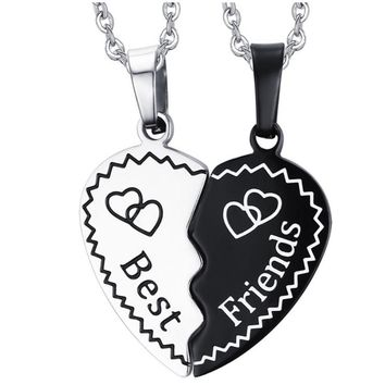 One pair of Fashion Stainless Steel Love Heart Pendant Friendship Necklaces Best Friend Gifts women men