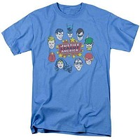 Mens Justice League Heads Circle Ringer T-Shirt