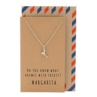Mela Funny 30th Birthday Cards, Margarita Jewelry Charm Necklace