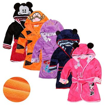 Cartoon Kids Robes Flannel Child Long Sleeve Bathrobe Children's Clothing