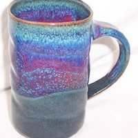 Purple Peacock Coffee Pottery Mug