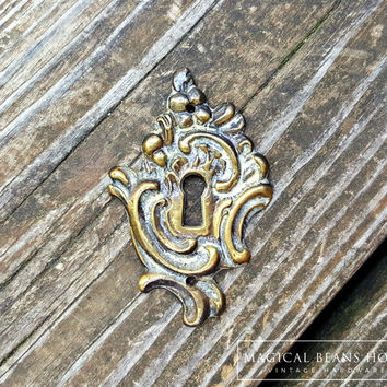 French Vintage Furniture Backplate Escutcheon Keyhole Plate Brass Furniture Hardware Decorative Dresser Drawer Ornamental Skeleton Key Plate