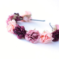 romantic pastel rose headband // three pink mix - dainty, floral headpiece, nature inspired, vintage inspired, rustic rose, love.