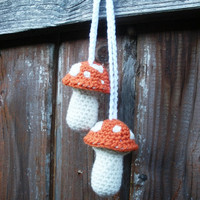 Plush Crochet Orange Hanging Mushroom Toadstool Stuffies, Patchouli Scented, ready to ship.
