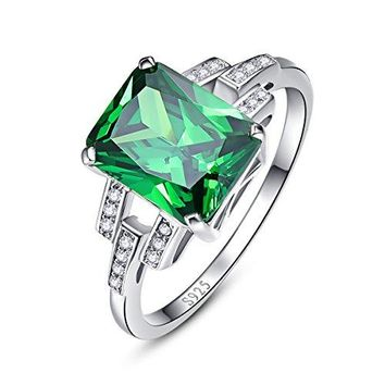 BONLAVIE Womens Square Cut Created Green Emerald 925 Sterling Silver Wedding Anniversary Engagement Ring