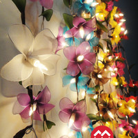 8 Colour Option of 20 Frangipani Flower Fairy String Lights Party Patio Wedding Floor Hanging Gift Home Decor Living Bedroom Holiday