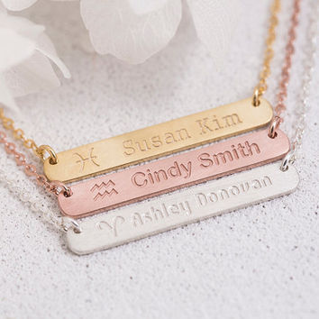 Engraved Constellation Necklace Personalized Constellation Bar Necklace Gift for Her Mom Bridesmaid Sterling Silver LUVINMARK LVMKZ6