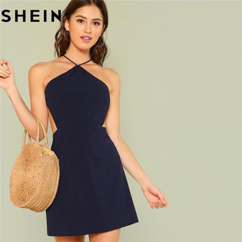 SHEIN Women Navy Sleeveless Backless Sexy Club Mini Dress Summer Party Strappy Back Zipper Solid Shift Halter Short Dresses