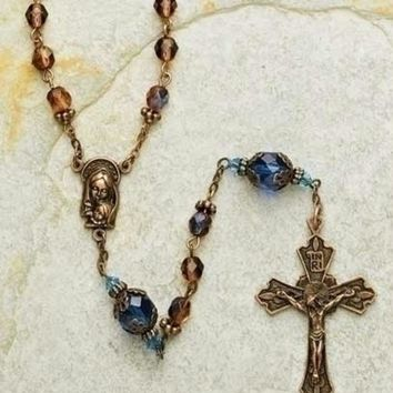 "23"" Byzantine Blue and Amber 6mm Glass Beaded Rosary with Keepsake Box"