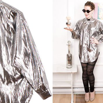 Metallic Collar Shirt 80s Mirrors Vintage 1980s