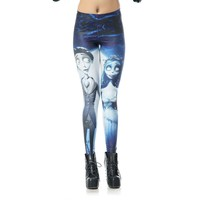 Corpse Bride Pattern Turning Printing Leggings Pants