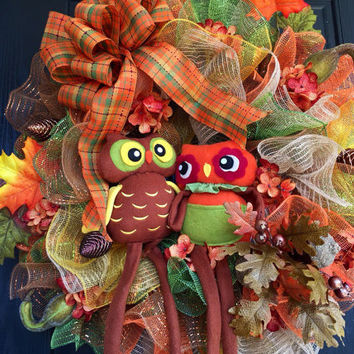 Welcome Owl Mesh wreath, Fall Owl Mesh Wreath, Fall Deco Mesh Wreath, Fall Mesh Wreath, Autumn Mesh Wreath, Front door Wreath