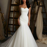 New Design Ruched Strapless Mermaid Tulle Wedding Dresses  White Ivory Tulle Floor length Lace Up Bridal Gowns In Stock