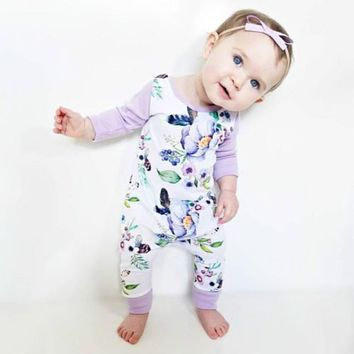 2017 Autumn Floral Children Pajamas Romper Newborn Infant Baby Girls Clothes Cotton Long Sleeve Jumpsuit Overall Outfit