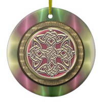 Pink Gold Green Celtic Shield Knot Ornament