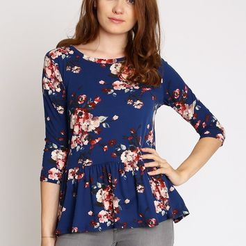 Beatrice Floral Peplum Top | Ruche