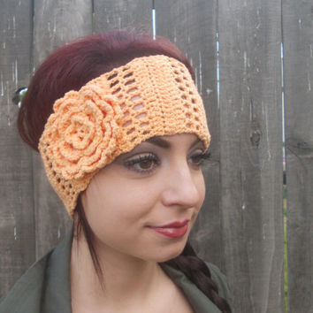 Crochet Summer Headband - Elastic Cotton Headband - Flower Headband - Orange Headband - Summer Fashion 2014 - Ready to Ship