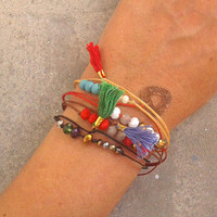Cord Friendship Bracelet with Charms, Eye Candy Selection