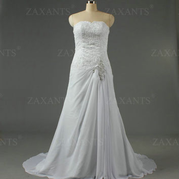 ZAXANTS Vintage Off the Shoulder Chiffon Lace Wedding Gowns