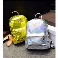 Hologram Laser  School Bag  Rainbow Colorful Metallic Silver Holographic Backpack