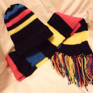 Multicolored Vibrant Black, Yellow, Pink and Blue Striped Hand Knitted Hat and Scarf Set