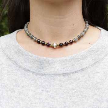 "Garnet and Labradorite ""Love and Serendipity"" Mala Choker"