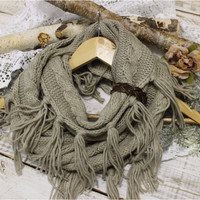 PENELOPE leather tassel wrap scarf - taupe