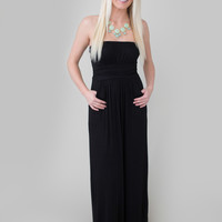 Pleated Front Strapless Maxi Dress- Black - Magnolia Boutique Indianapolis