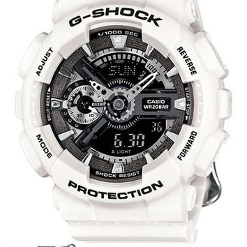 Casio Womens G-Shock S Series - White Case and Floral Pattern Strap - Black Dial
