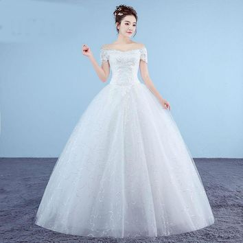 Boat Neck Embroidered Wedding Dress Organza And Tulle Lace Up Ball White Princess Bridal Gowns