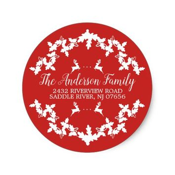 Red Holly Berry Return Address Round Sticker