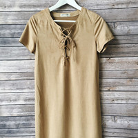 Carleigh Faux Suede Tshirt Dress (Tan)